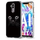 Funda Huawei Mate 20 Lite, Eouine Cárcasa Silicona 3D Transparente con Dibujos Diseño [Antigolpes] de Protector Bumper Case Cover Fundas para Movil Huawei Mate 20Lite - 6,3 Pulgadas (Gato Negro)