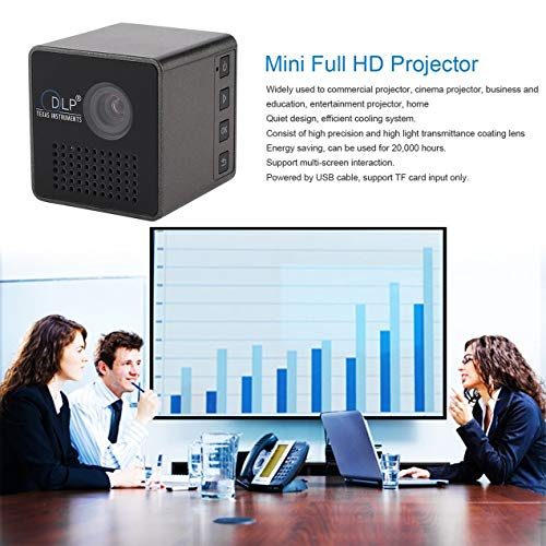 Mini DLP Projector  Portable Cube 1080P Full HD LED Video Projector Pocket Projector  for Business  Education  Home Entertainment