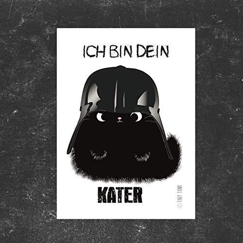 TinyTami★1 Katzen Sticker★ Kater MOO Aufkleber★Darth Vader Starwars Katze Handmade (Nero-aufkleber)
