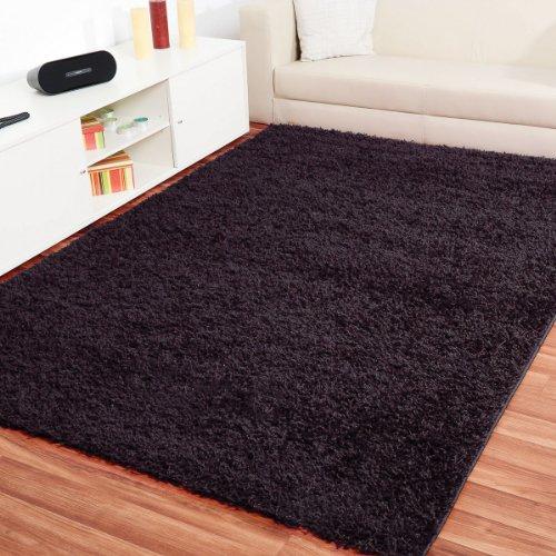 Preisvergleich Produktbild Shaggy Hochflor Teppich Fluffy Schwarz - versandkostenfrei schadstoffgeprüft pflegeleicht antistatisch schmutzresistent robust strapazierfähig Wohnzimmer Schlafzimmer Kinderzimmer Flur , Größe Auswählen:80 x 150 cm