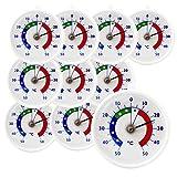 10 Stück Set Bimetall Analog Kühlschrank - Kühlraum - Kühltruhen Thermometer . Kühlschrankthermometer Kunststoff mit Haken Temperatur Anzeige -40 bis + 40 °C