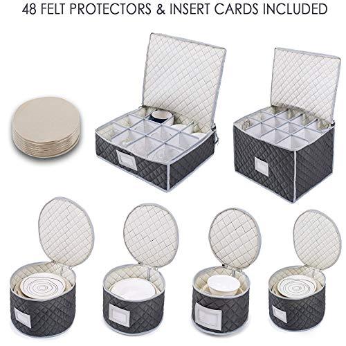 """Organizador acolchado \""""Juego de almacenamiento de vajilla\"""" Woffit para proteger y transportar platos finos de porcelana, tazas de té, copas de vino, etc. Incluye 48 protectores de fieltro"""