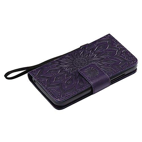 Für Huawei Y360 Fall, Prägen Sonnenblume Magnetische Muster Premium Soft PU Leder Brieftasche Stand Case Cover mit Lanyard & Halter & Card Slots ( Color : Purple ) Purple
