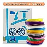 SHONCO PLA Filament 3D Stift Filament 12PCS 1.75MM 3D Printer Filament mit 20PCS 3D Kunststoff Papiermodelle Schablonen Filament-3D-Druckmaterialien für Kinder Erwachsene mit 3D Drucker Stift 3D Pen