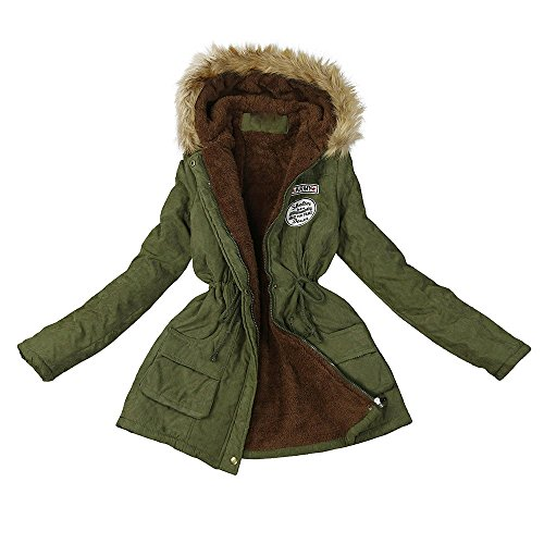LuckyGirls Manteau Hiver Mode Femme Toison Manche Longue Coton Encapuchonné Court Chaud Poche zippée Veste Manteau (XL, Armée Verte A)