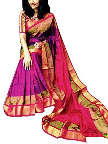 Fashion Flowerz Original Uppada Pure Silk Sarees With Blouse For Women Multicolored