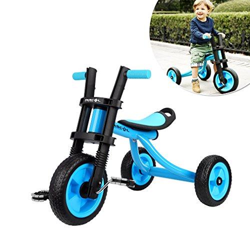 Fascol Triciclo Trike Bicicleta con Goma de Ruedas para Niños, 2 a 5 Años,Máx 25kg,Azul