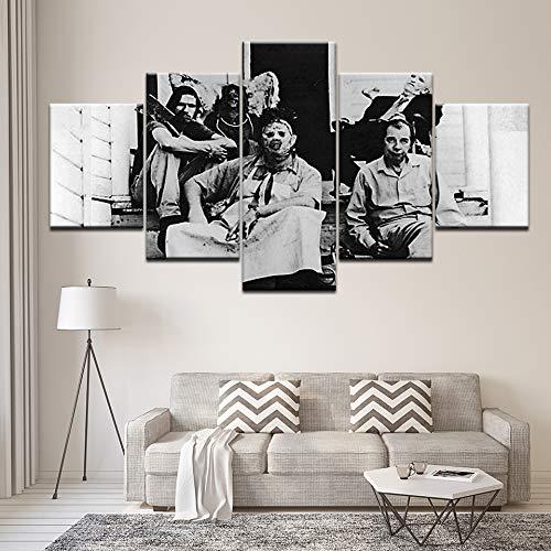 jasonding Wandbild 5 Panel Kettensäge Massaker Poster Wandkunst Leinwand Malerei Moderne Wohnkultur Leinwanddruck Bilder Kunstwerk Malerei-(Rahmen)-100cm