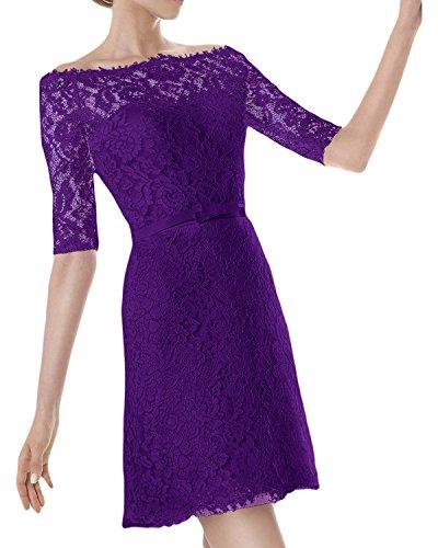 Ivydressing Robe femme manche 3/4 pour soirée ou mariage Violet
