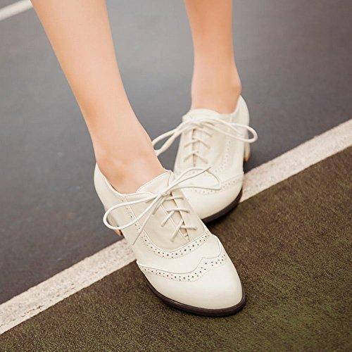 Mee Shoes Damen chunky heels mit Schnürsenkel ankle Boots Beige