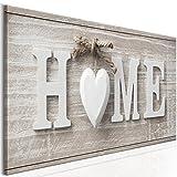 decomonkey Bilder Home Haus 120x40 cm 1 TLG. Leinwandbilder Bild auf Leinwand Vlies Wandbild Kunstdruck Wanddeko Wand Wohnzimmer Wanddekoration Deko Herz Vintage