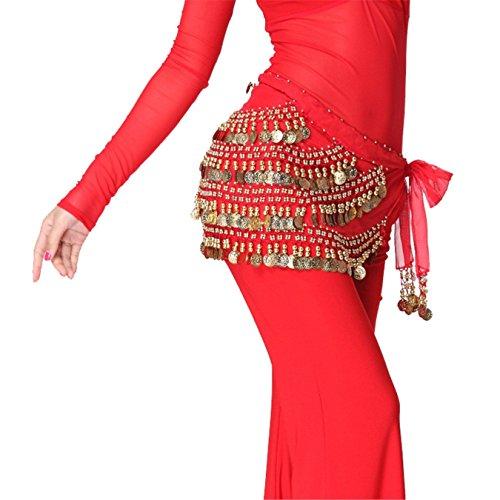 Danse du ventre costume Hip écharpe jupe Dance Accessories Tribal 5 Rangées 168 Gold Bead Coins Costume red