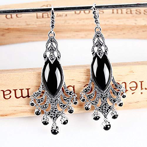 Frauen 925 Sterling Silber schwarz Achat rot blau Korund Pfau Schwanz Ohrringe, Retro übertrieben Lange Ohrringe,Black (Schwarze Schwanz Und Rote)