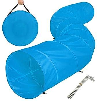TecTake XXL tunnel d'entraînement agility pour les chiens 500x60cm tunnel de jeu jouet pliable + 12 piquets et poche de transport bleu