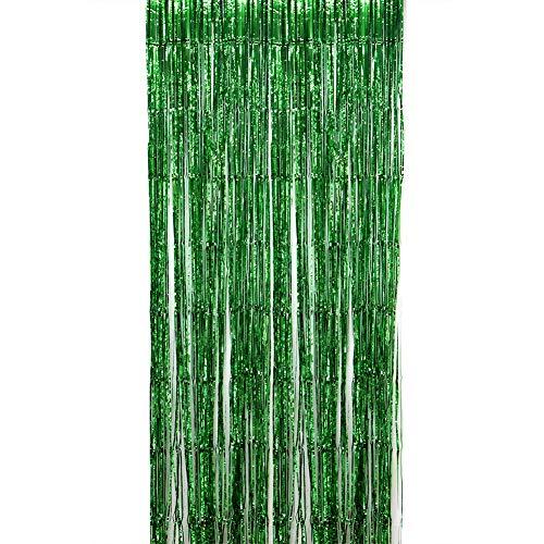 Bigbigshop 1 pezzi tenda a scorrimento con nappe, porta con tende a frange in lamina, tenda decorativa, per decorazioni per matrimoni (verde, 100x300cm)