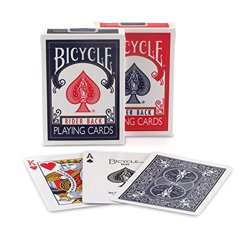 Bicycle 1005016 rider back index playing cards, pack of 2, standard, red / blue