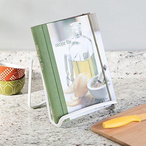 Elegante soporte para sujetar libros de cocina mDesign Atril de cocina para encimera Soporte para platos y cuadros cromado Soporte para libros de cocina /útil para sujetar la tablet o el iPad