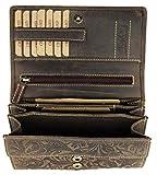 BELLI hochwertige Vintage Leder Damen Geldbörse Portemonnaie langes großes Portmonee Geldbeutel langes Portmonee aus weichem Leder in braun Gemustert - 17,5x10x4cm (B x H x T)