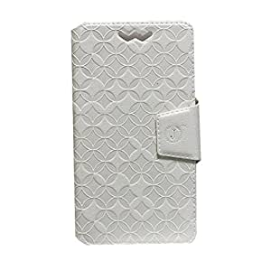 Jo Jo Cover Aarav Series Leather Pouch Flip Case With Silicon Holder For Motorola Moto G 4G White