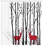 Abakuhaus Duschvorhang, Zwei Rote Rehe in der Natur Design Digital Schwartz Weiß Rot Wald mit Baum Schatten Hintergrund, Blickdicht aus Stoff mit 12 Ringen Waschbar Langhaltig Hochwertig, 175 X 200 cm