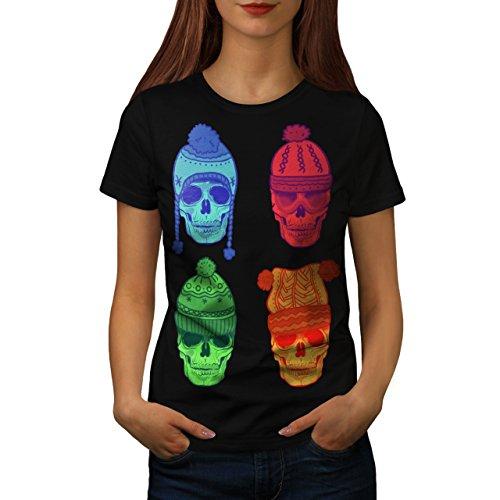 Winter Hut Mode Schädel Kostüm Kunst Damen M T-shirt | (Kostüm Winter Shirt Soldat)