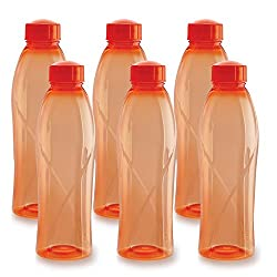 Cello Texas Plastic Pet Bottle, 1 Litre, Set of 6, Orange