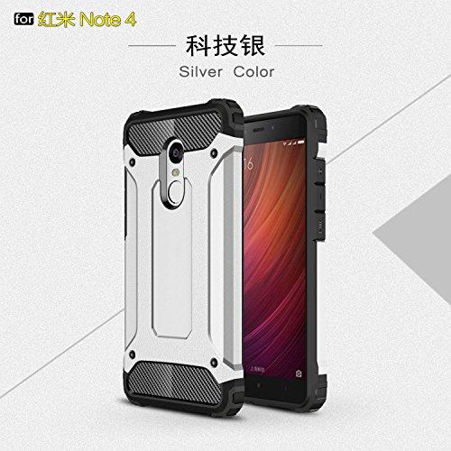Fundas Xiaomi Redmi Note 4/Note 4X,XINYUNEW TPU+PC [Regalo Cristal Vidrio Templado] Premium Armadura Híbrido caja de la armadura para el teléfono Silicona Carcasa Case Funda para Xiaomi Redmi Note 4/Note 4X Plata