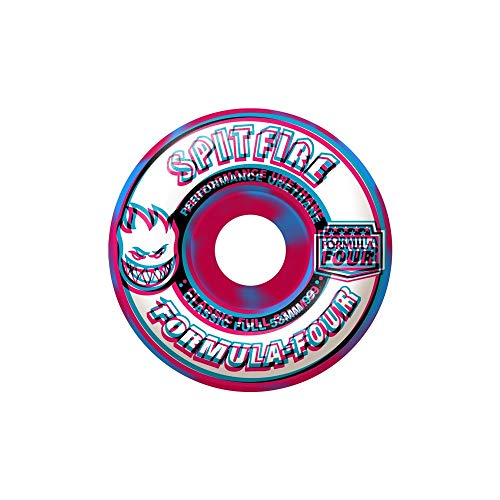 Spitfire F4 Overlay Classic Full Wheels Set, Pink Blue Swirl 53mm/99d (Classics Spitfire Wheels)