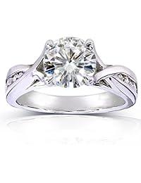Para Siempre Brillante Moissanite y Diamond Twist anillo de compromiso 11/5quilates (de quilate) en 14K oro blanco _ 6,5
