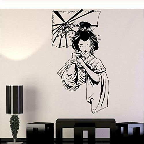Adesivi murali appesi a parete cool geisha ragazza ombrello giapponese stile asiatico arte creativa moda bellissimo appeso a parete 42x76 cm