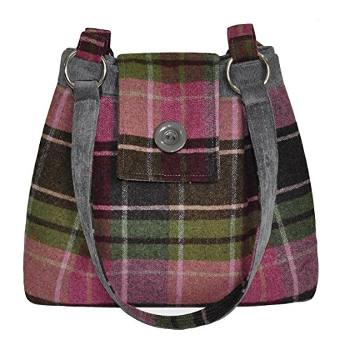 Earth Squared AVA Tweed Schultertasche in einer Auswahl an Farben Himbeere