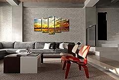 Idea Regalo - Stampa su tela, decorazione da parete, bellissimo design con fantastici girasoli e cielo colorato al tramonto, 5pezzi, giclée moderno, artwork allungato e incorniciato, stampe su tela