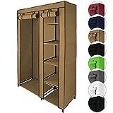 Armario ropero de tela guardarropa de tejido SMART 110 x 45 x 175 cm con barra de armario y cremallera de BB Sport, Color:Beis capuchino