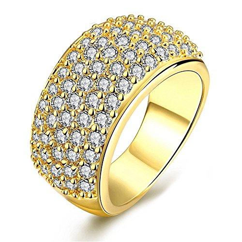 Plated Labor Erstellt Diamant Ehering CZ Ewigkeit Band Jubiläum Ring Birthstone Ring für Frauen Freundin (Gold Größe 57 (18.1) CR002 ()