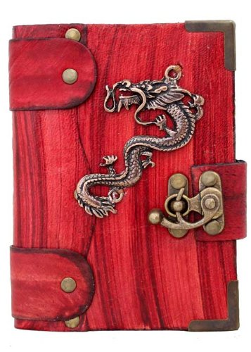 handmade-chinese-dragon-pendant-on-a-red-leather-journal-with-lock-sketchbook-leatherbound-notebook-