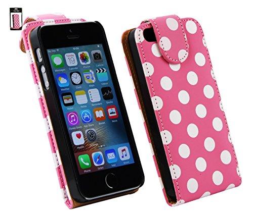 Emartbuy® Apple iPhone SE Premium PU Leder Schlag Fall Abdeckung Beutel Polka Dots Rosa Weiß