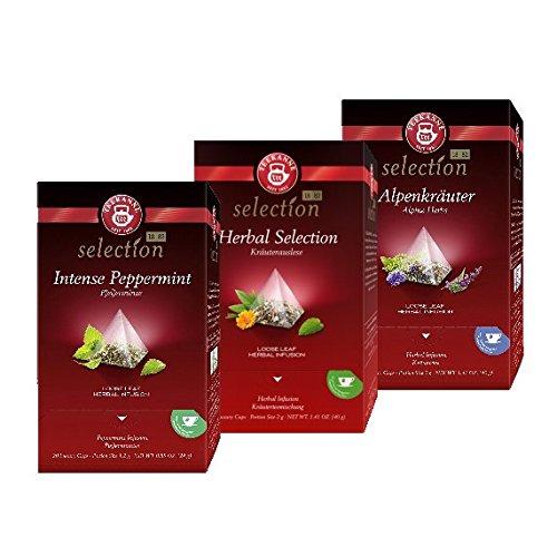 Teekanne Luxury Cup Kräutertee-Set - 3 verschiedene Teesorten im Pyramidenbeutel ( 3 x 20 Beutel)