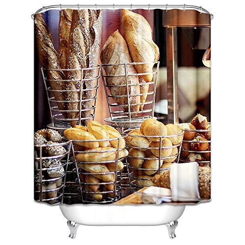 LOUMVE 90x180 cm Badewanne Vorhang AntibacterialBrot Bunten Duschvorhang Anti Schimmel mit 12 Duschvorhangringen