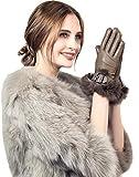 YISEVEN Damen Elegant Lammfelll Lederhandschuhe Kaninchenfell Touchscreen mit Warm Gefüttert Elegant Winter Leder Autofahrer Handschuhe, Taupe 6.5/S