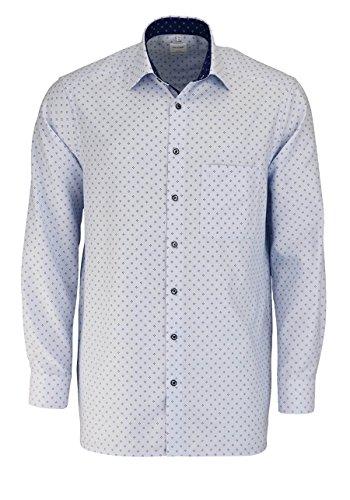 OLYMP Luxor Comfort Fit Hemd Langarm Muster Hellblau Hellblau