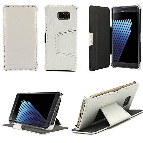 Ultra Slim Tasche Leder Style Samsung Galaxy Note 7 (LTE / 4G) Hülle weiß Cover mit Stand - Zubehör Etui Galaxy Note 7 SM-N930/SM-N30F Dual SIM 2016 Flip Case Schutzhülle (PU Leder, Weiss) - XEPTIO accessoires