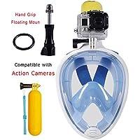 Full Face Easy Free respirazione superficiale Snorkel Scuba Set sport Snorkeling maschera con adattatore per GoPro Eroe della serie e altri Action Cameras (Blu, S~M)