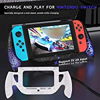 Anself Game Charging Grip for Nintendo Switch Console Joy-Con Handle Stand Quick Charge Compatible 5V 2A USB Charger with Type-C Cable for Nintendo Switch Console Controller