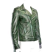 hombre brando verde suave real Nappa cuero moto chaqueta de la motocicleta