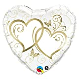 Qualatex Folienballon 17244 verschlungene hearts-gold, 91,4 cm farbenreiche