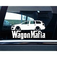 Adesivo auto con silhouette automobile e scritta Wagon Mafia, per VW Passat B6 R35 station wagon assetto ribassato - Assetto Ribassato