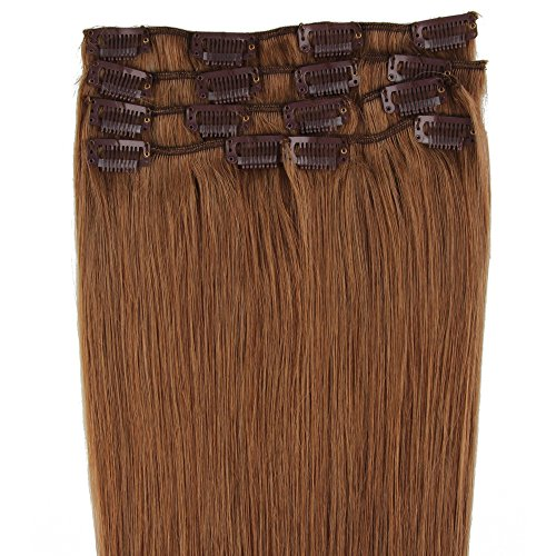 Beauty7 Extensions de cheveux humains à clip 100% Remy Hair 8# Couleur Marron clair Longueur 38 cm Poids 70 grams
