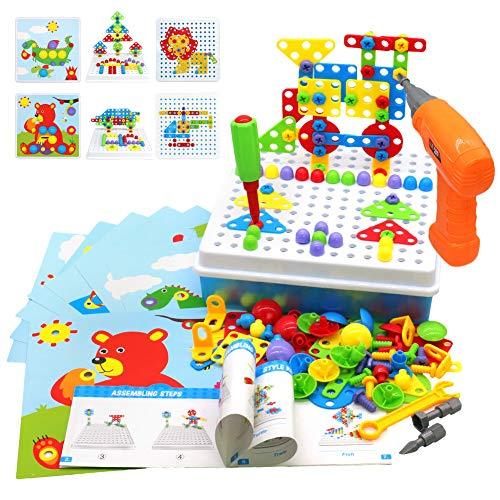 4 in 1 Mosaico di Puzzle 3D Giochi Montessori 223 PCS Costruzioni Fai da Te Regalo con Trapano per Bambini 3 4 5 Anni