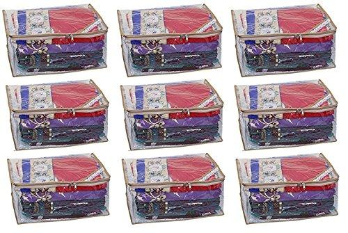 "Kuber Industriesâ""¢ Extra Large Saree cover Set of 9 Pcs Full Transparent With Capacity of 10-15 Sarees (Golden Lace)"