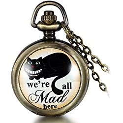 JewelryWe Vintage Retro We are All Mad Here Pocket Locket Quartz Watch Pendant Necklace 30.7 Inch Chain (with Gift Bag)